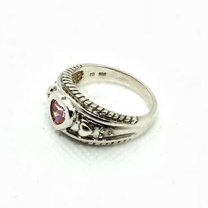 🆕Vintage Avon Sterling Pink Crystal Heart Ring